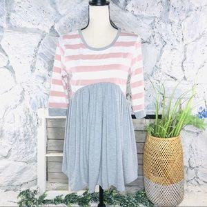 Boutique Peplum Tunic Dress Top Pink Gray Stripe